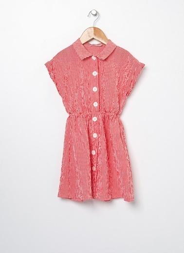 Koton Kids Koton Gömlek Yaka Çizgili Kırmızı Elbise Kırmızı